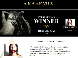Akademia Music Awards Winner February 2016 Best album pop
